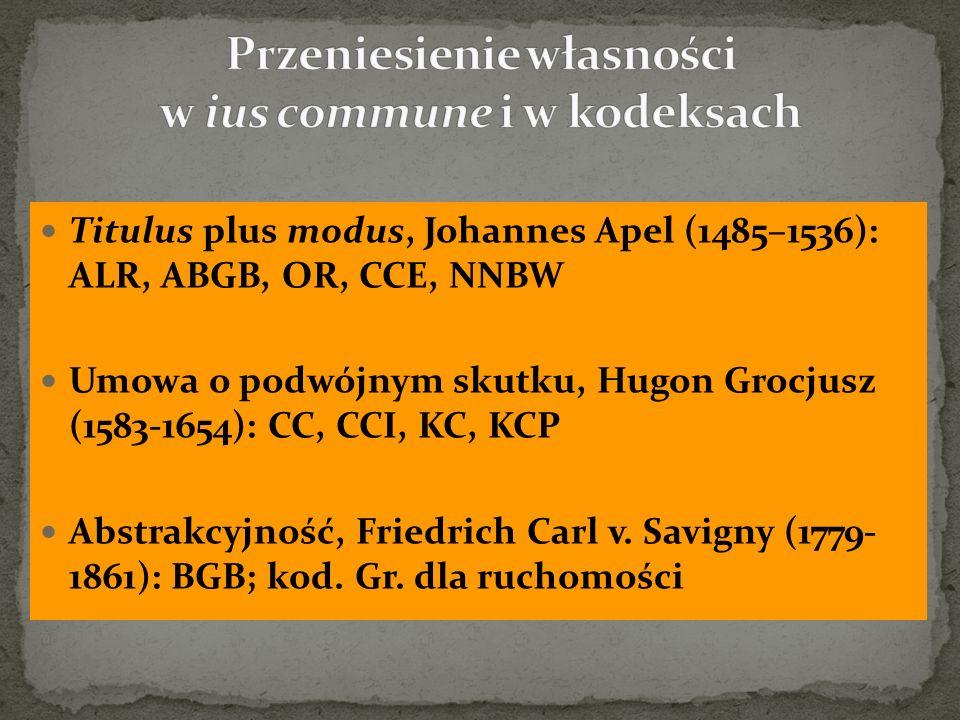 Titulus plus modus, Johannes Apel (1485–1536): ALR, ABGB, OR, CCE, NNBW Umowa o podwójnym skutku, Hugon Grocjusz (1583-1654): CC, CCI, KC, KCP Abstrak