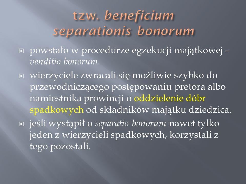 powstało w procedurze egzekucji majątkowej – venditio bonorum. wierzyciele zwracali się możliwie szybko do przewodniczącego postępowaniu pretora albo
