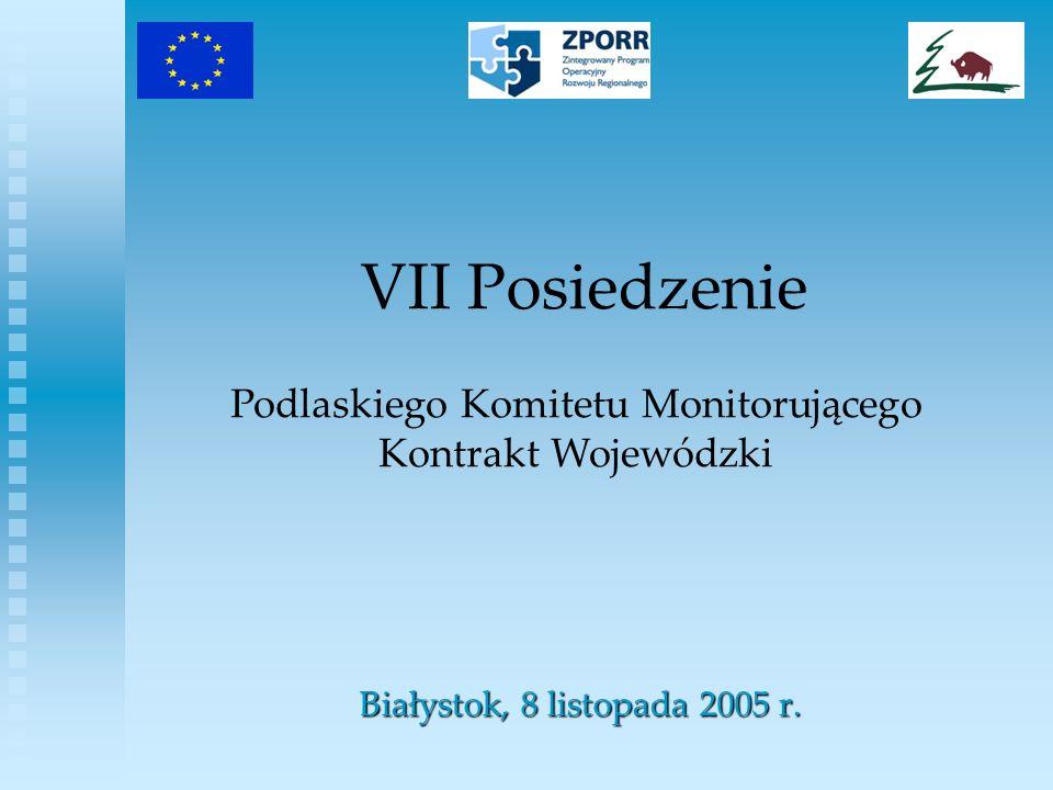 Zestawienie umów podpisanych w ramach ZPORR Działanie 1.1 Modernizacja i rozbudowa regionalnego układu transportowego PoddziałanieStan na 30 IX 2005 r.Stan na 4 XI 2005 r.