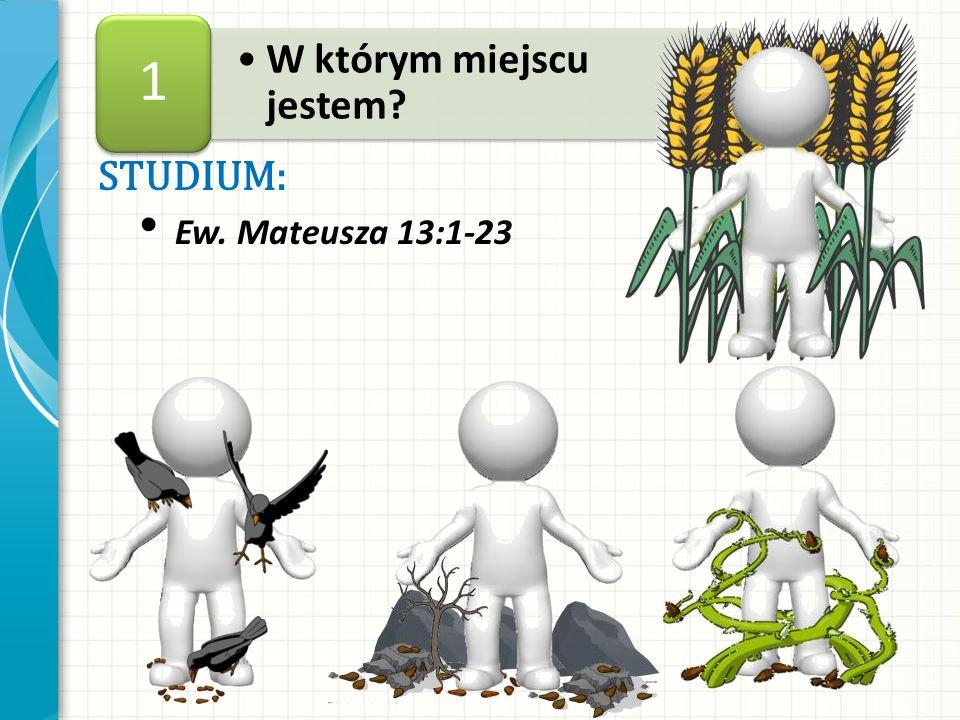 STUDIUM: Ew. Mateusza 13:1-23 W którym miejscu jestem? 1