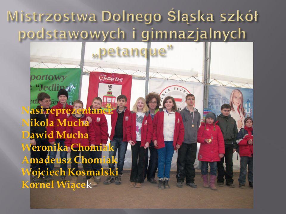 Nasi reprezentanci: Nikola Mucha Dawid Mucha Weronika Chomiak Amadeusz Chomiak Wojciech Kosmalski Kornel Wiące k