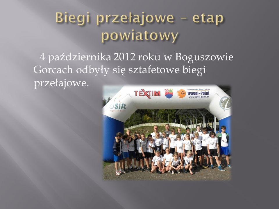 4 października 2012 roku w Boguszowie Gorcach odbyły się sztafetowe biegi przełajowe.