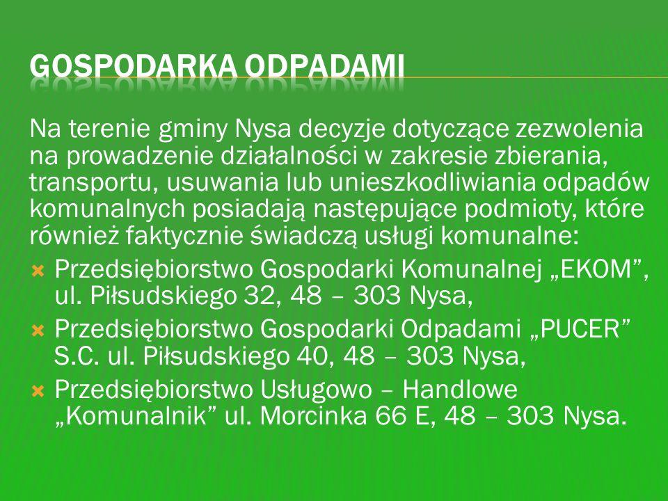 Na terenie gminy Nysa decyzje dotyczące zezwolenia na prowadzenie działalności w zakresie zbierania, transportu, usuwania lub unieszkodliwiania odpadó