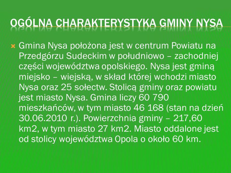 Gmina Nysa położona jest w centrum Powiatu na Przedgórzu Sudeckim w południowo – zachodniej części województwa opolskiego. Nysa jest gminą miejsko – w