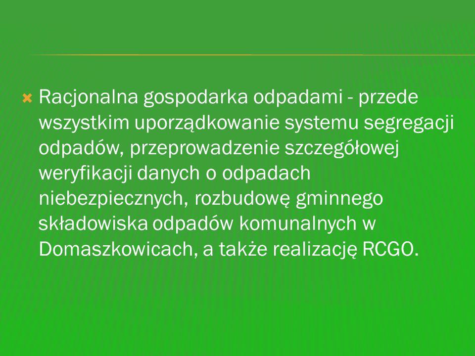 Racjonalna gospodarka odpadami - przede wszystkim uporządkowanie systemu segregacji odpadów, przeprowadzenie szczegółowej weryfikacji danych o odpadac