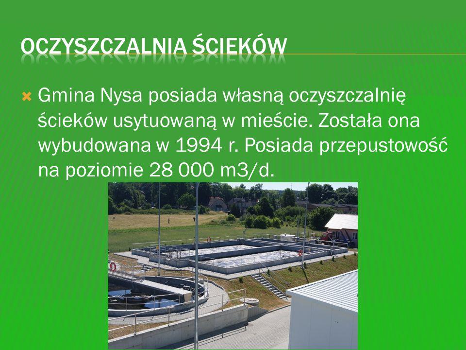 Gmina Nysa posiada własną oczyszczalnię ścieków usytuowaną w mieście. Została ona wybudowana w 1994 r. Posiada przepustowość na poziomie 28 000 m3/d.