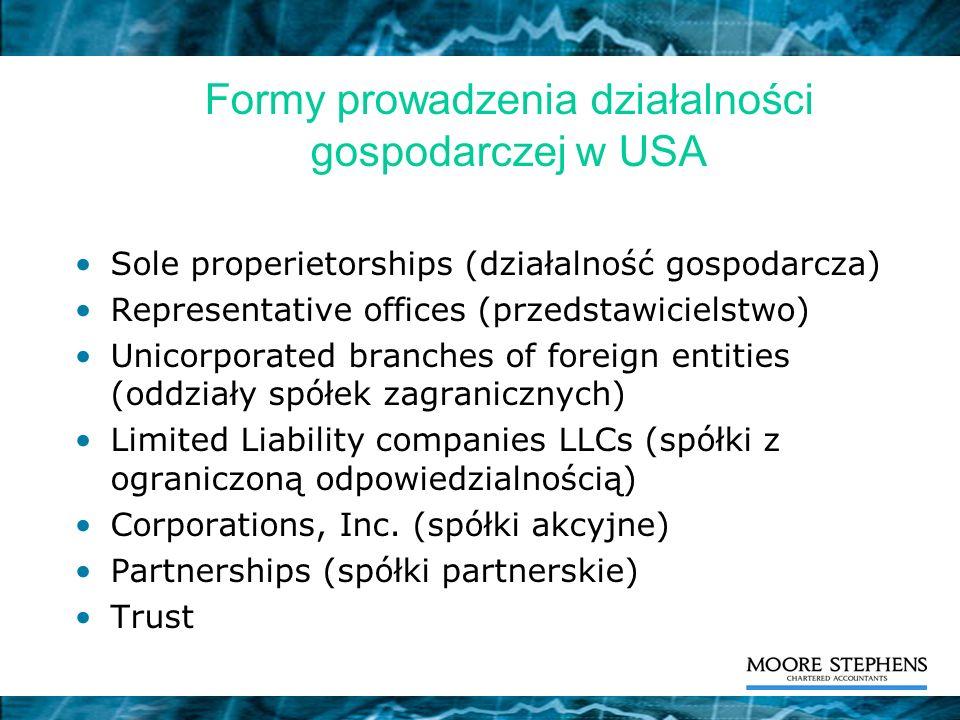 Formy prowadzenia działalności gospodarczej w USA Sole properietorships (działalność gospodarcza) Representative offices (przedstawicielstwo) Unicorpo