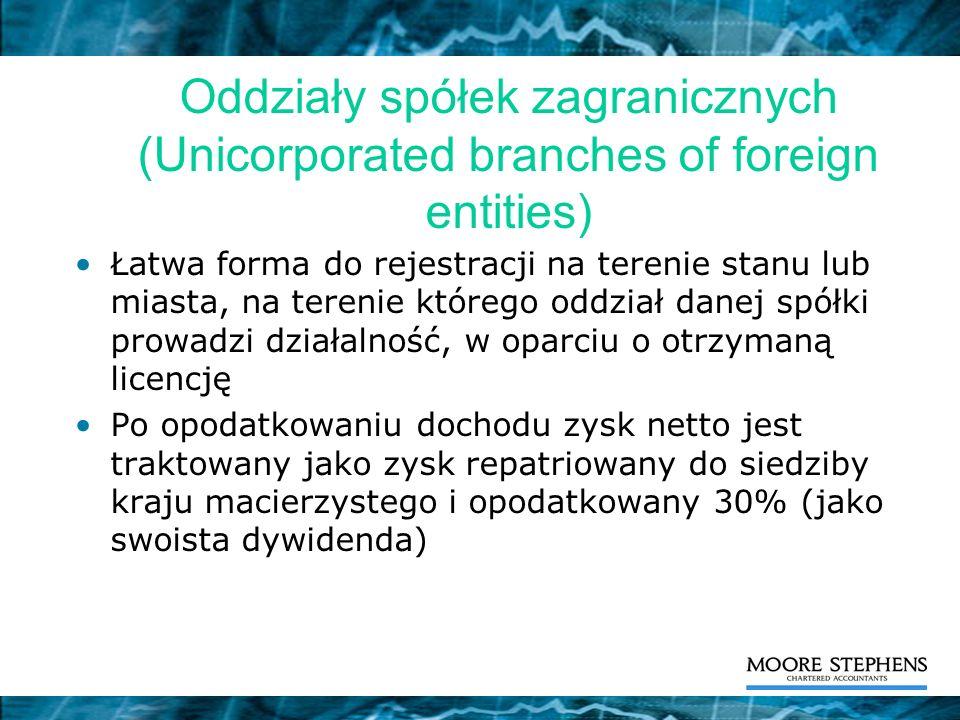 Oddziały spółek zagranicznych (Unicorporated branches of foreign entities) Łatwa forma do rejestracji na terenie stanu lub miasta, na terenie którego