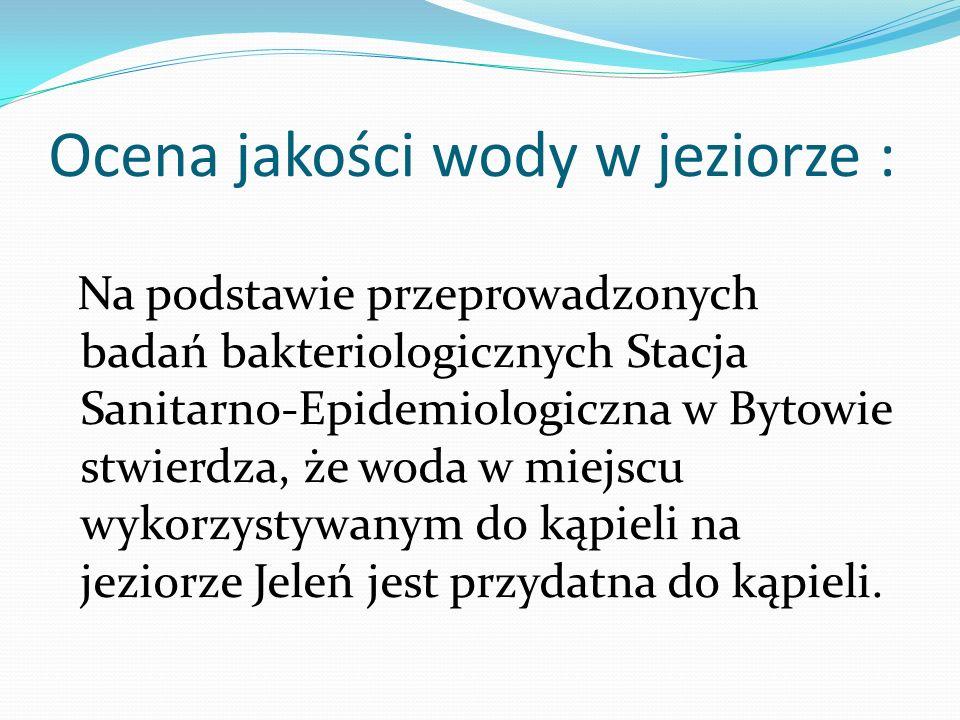 Ocena jakości wody w jeziorze : Na podstawie przeprowadzonych badań bakteriologicznych Stacja Sanitarno-Epidemiologiczna w Bytowie stwierdza, że woda w miejscu wykorzystywanym do kąpieli na jeziorze Jeleń jest przydatna do kąpieli.