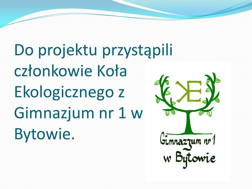 Do projektu przystąpili członkowie Koła Ekologicznego z Gimnazjum nr 1 w Bytowie.
