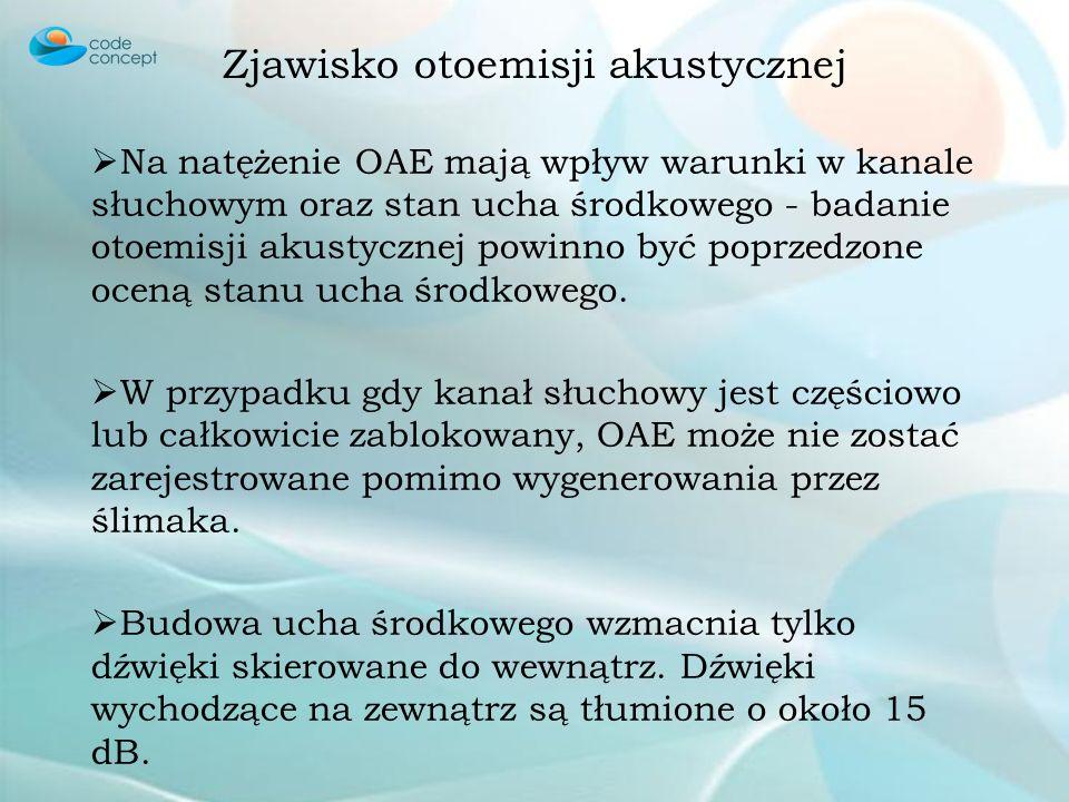 Zjawisko otoemisji akustycznej Prawie wszyscy ludzie charakteryzujący się OAE w normie, słyszą prawidłowo (korelacja > 97%) - możliwość automatyzacji