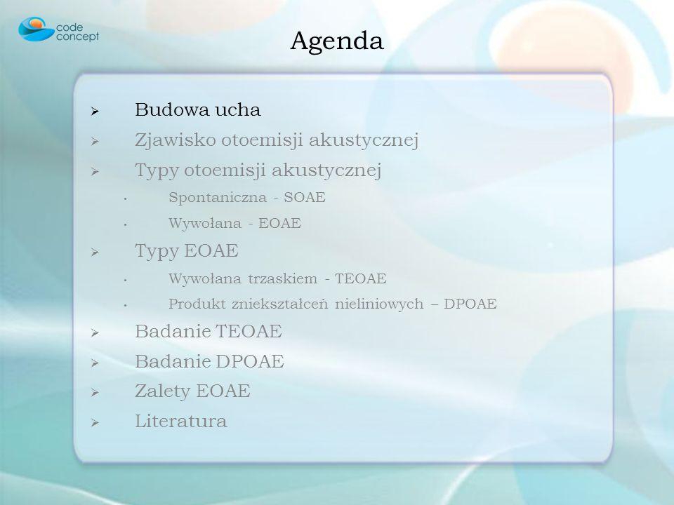 Budowa ucha Zjawisko otoemisji akustycznej Typy otoemisji akustycznej Spontaniczna - SOAE Wywołana - EOAE Typy EOAE Wywołana trzaskiem - TEOAE Produkt zniekształceń nieliniowych – DPOAE Badanie TEOAE Badanie DPOAE Zalety EOAE Literatura Agenda