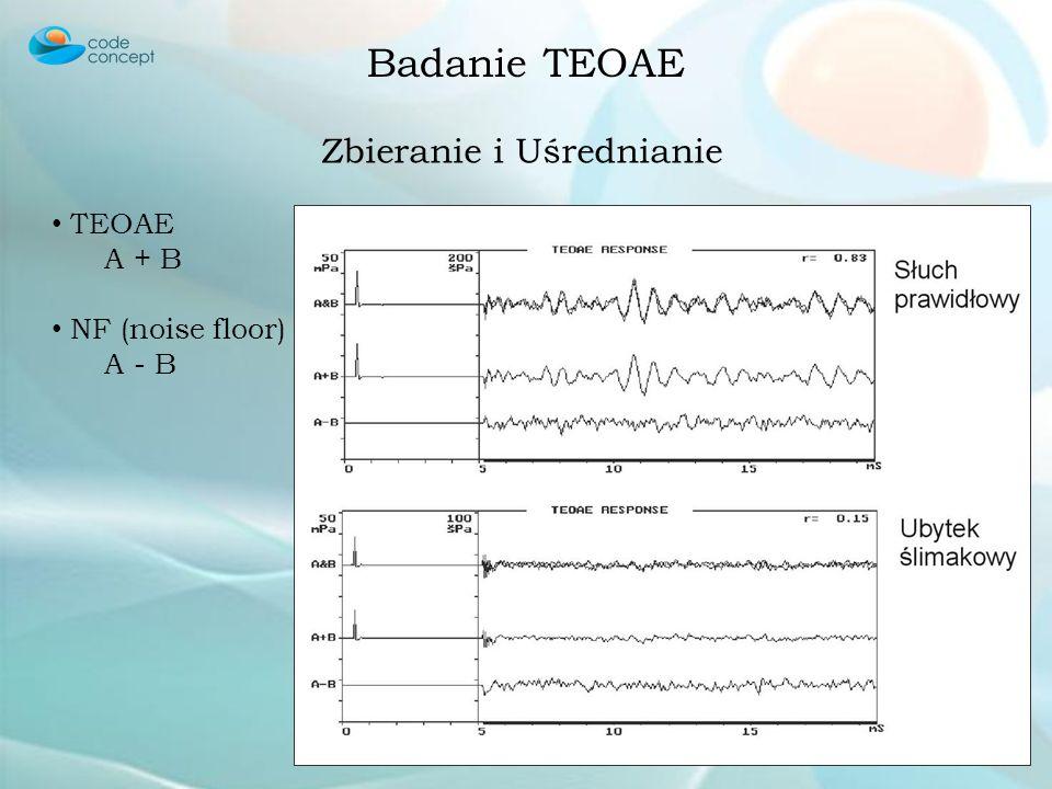 Badanie TEOAE Stymulacja Stymulacja trzaskiem Równa energia dla wszystkich częstotliwości 1500 – 5000 kHz Badanie dopasowania Kalibracja - echo