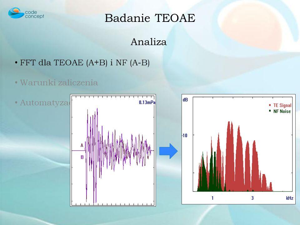 Badanie TEOAE Zbieranie i Uśrednianie TEOAE A + B NF (noise floor) A - B