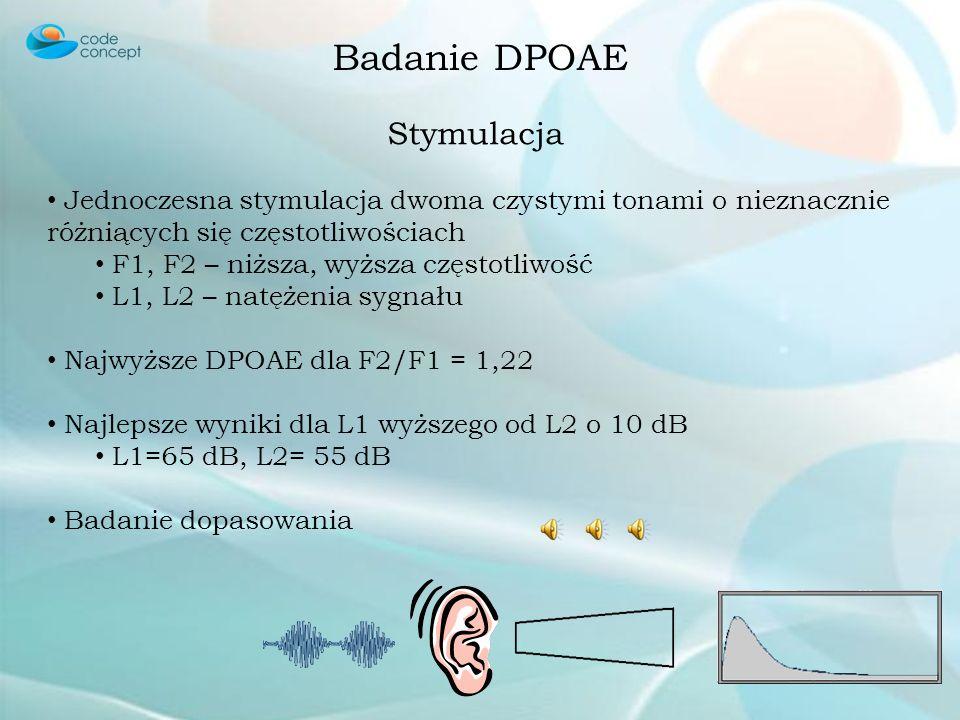 Badanie DPOAE Cechy Jednoczesna stymulacja dwoma czystymi tonami o nieznacznie różniących się częstotliwościach Nieliniowa aktywność ślimaka generuje