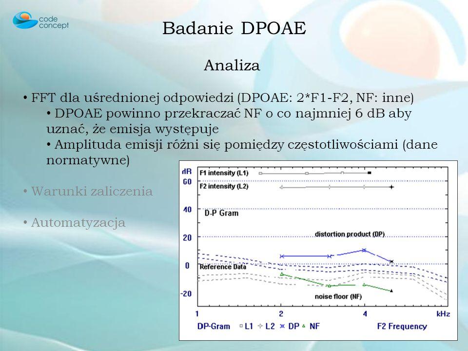 Badanie DPOAE Zbieranie i Uśrednianie DPOAE 2*F1-F2 (0,78*F1) NF (noise floor) dowolna inna Badanie kilku krokowe – w przeciwieństwie do TEOAE, w poje