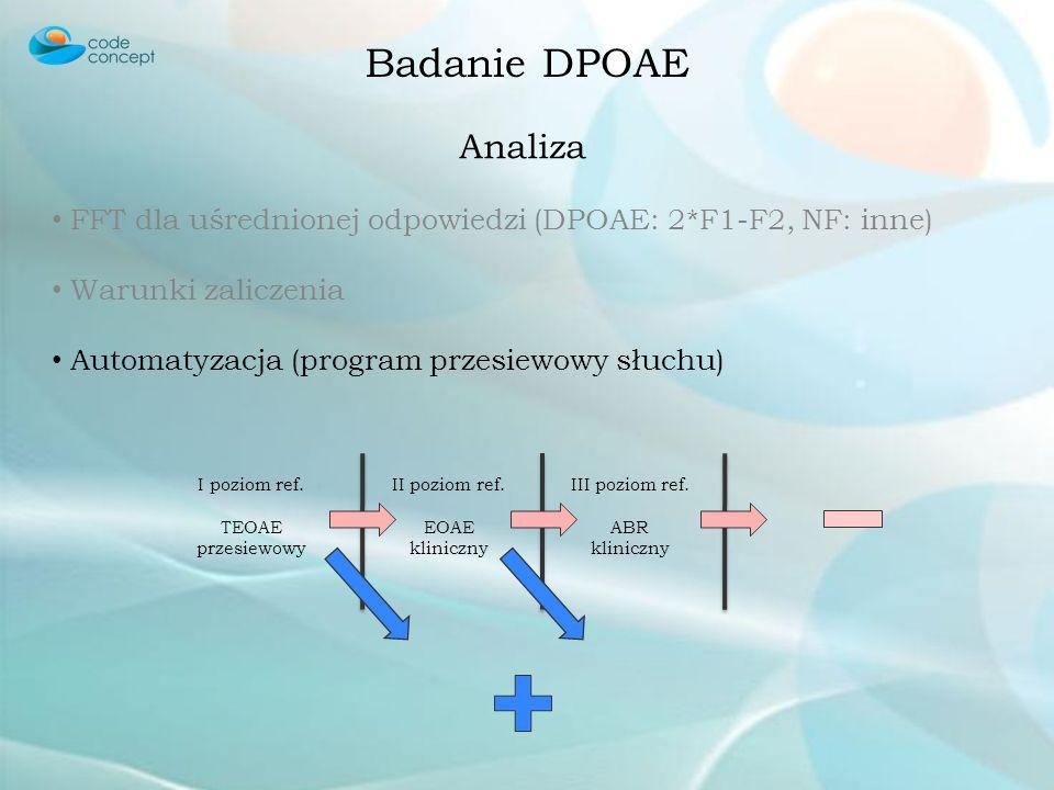 Badanie DPOAE Analiza FFT dla uśrednionej odpowiedzi (DPOAE: 2*F1-F2, NF: inne) Warunki zaliczenia Automatyzacja Określenie badanych częstotliwości Ok