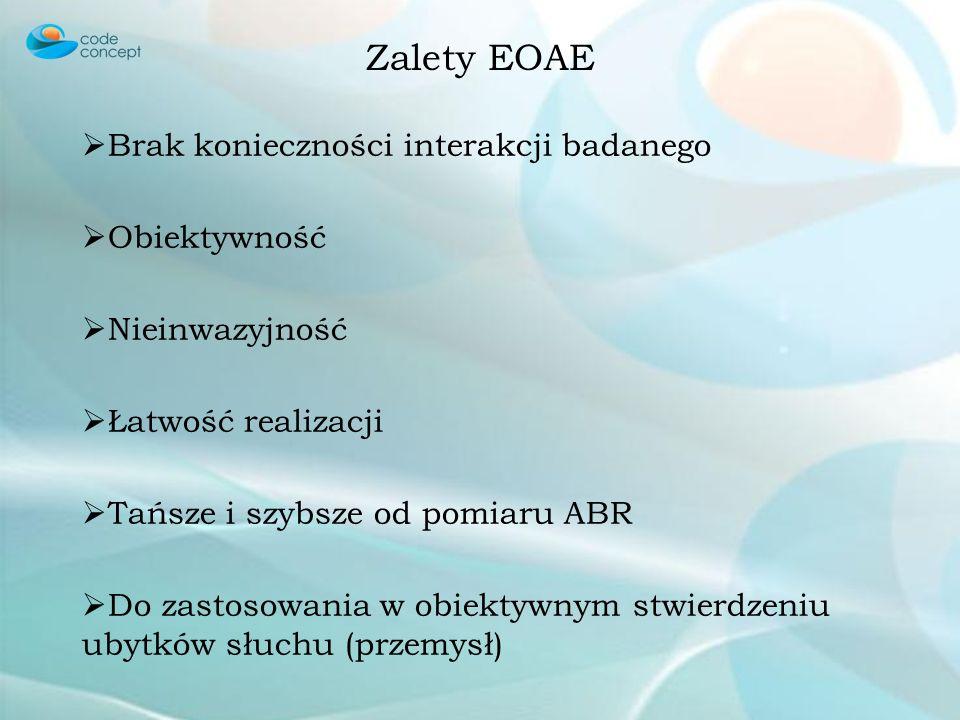 Budowa ucha Zjawisko otoemisji akustycznej Typy otoemisji akustycznej Spontaniczna - SOAE Wywołana - EOAE Typy EOAE Wywołana trzaskiem - TEOAE Produkt