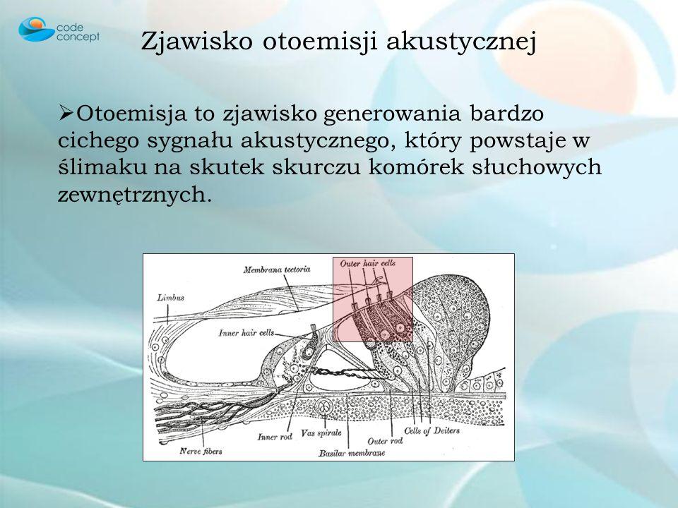 Zjawisko otoemisji akustycznej Otoemisja to zjawisko generowania bardzo cichego sygnału akustycznego, który powstaje w ślimaku na skutek skurczu komórek słuchowych zewnętrznych.