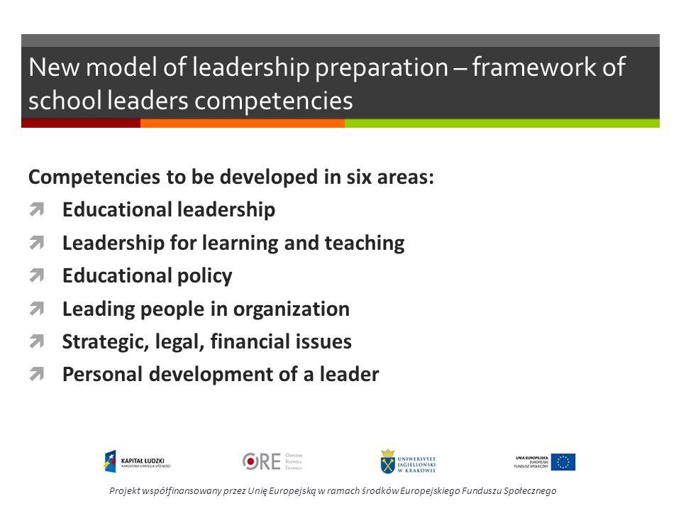 New model of leadership preparation – framework of school leaders competencies Competencies to be developed in six areas: Educational leadership Leade