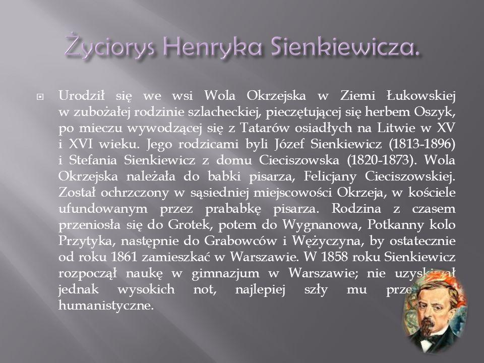 Urodził się we wsi Wola Okrzejska w Ziemi Łukowskiej w zubożałej rodzinie szlacheckiej, pieczętującej się herbem Oszyk, po mieczu wywodzącej się z Tatarów osiadłych na Litwie w XV i XVI wieku.