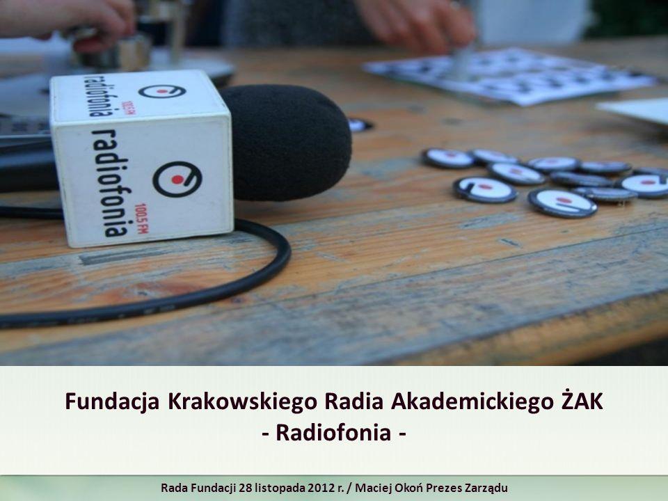 Fundacja Krakowskiego Radia Akademickiego ŻAK - Radiofonia - Rada Fundacji 28 listopada 2012 r. / Maciej Okoń Prezes Zarządu
