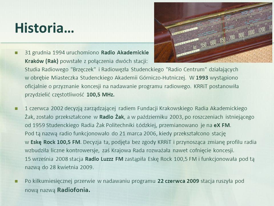 Historia… 31 grudnia 1994 uruchomiono Radio Akademickie Kraków (Rak) powstałe z połączenia dwóch stacji: Studia Radiowego