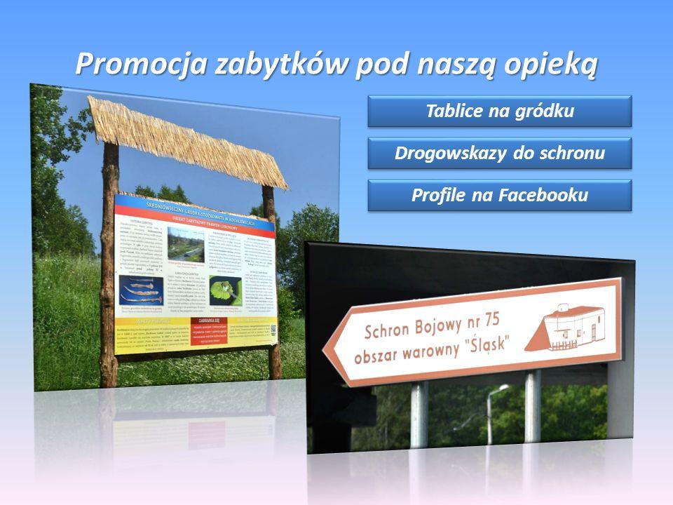 Promocja zabytków pod naszą opieką Tablice na gródku Drogowskazy do schronu Profile na Facebooku