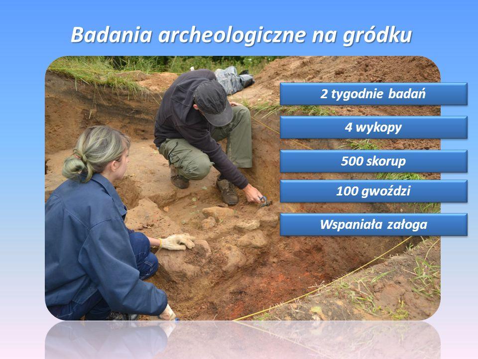 Badania archeologiczne na gródku 2 tygodnie badań 4 wykopy 500 skorup 100 gwoździ Wspaniała załoga