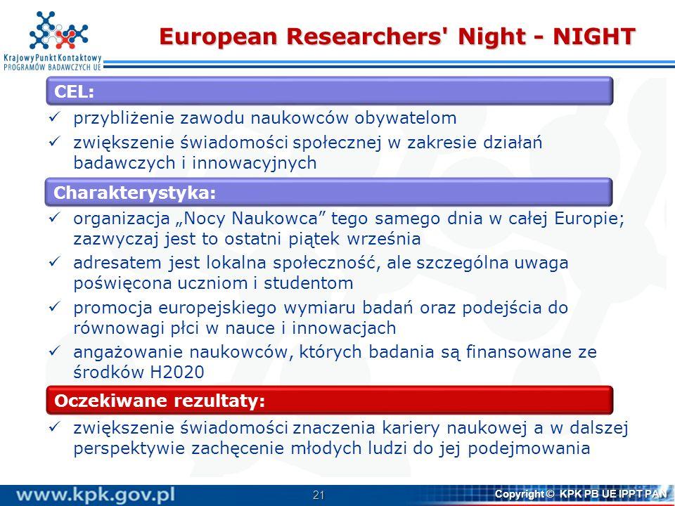 21 Copyright © KPK PB UE IPPT PAN European Researchers' Night - NIGHT przybliżenie zawodu naukowców obywatelom zwiększenie świadomości społecznej w za