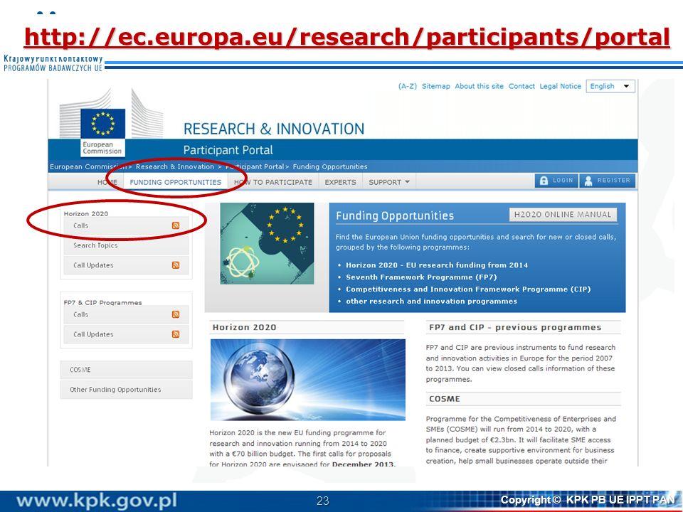 23 Copyright © KPK PB UE IPPT PAN http://ec.europa.eu/research/participants/portal
