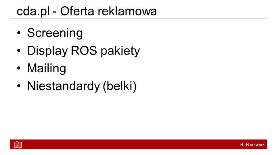 RTB network cda.pl - Oferta reklamowa Screening Display ROS pakiety Mailing Niestandardy (belki)