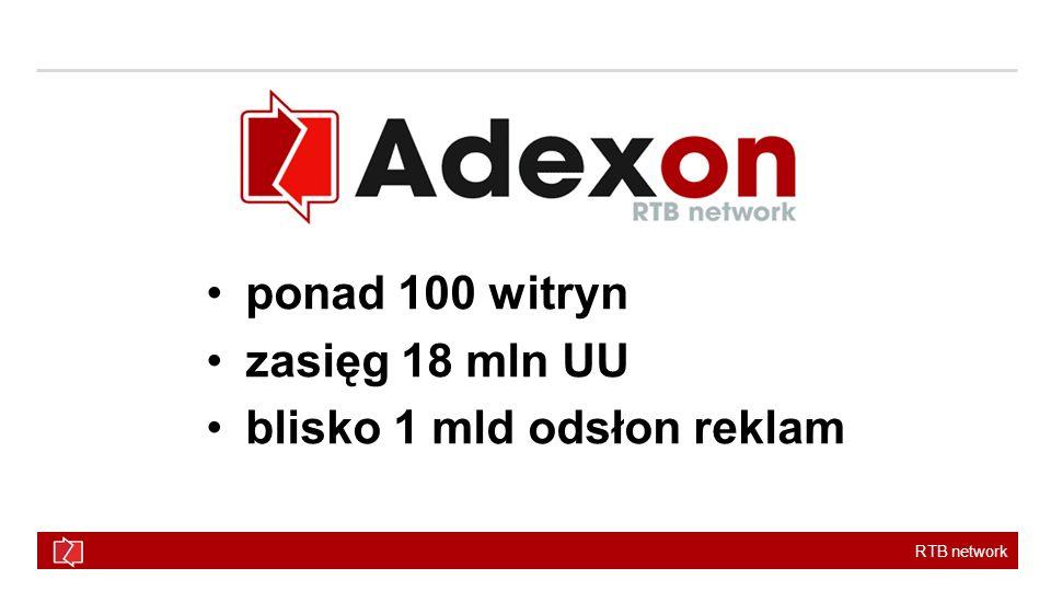 RTB network Adexon – nowoczesna sieć reklamowa Adexon RTB Ogromny zasięg umożliwiający dotarcie do ponad 90% użytkowników w ciągu miesiąca po bezkonkurencyjnych stawkach.