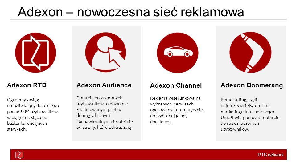 RTB network Adexon – nowoczesna sieć reklamowa Adexon RTB Ogromny zasięg umożliwiający dotarcie do ponad 90% użytkowników w ciągu miesiąca po bezkonku