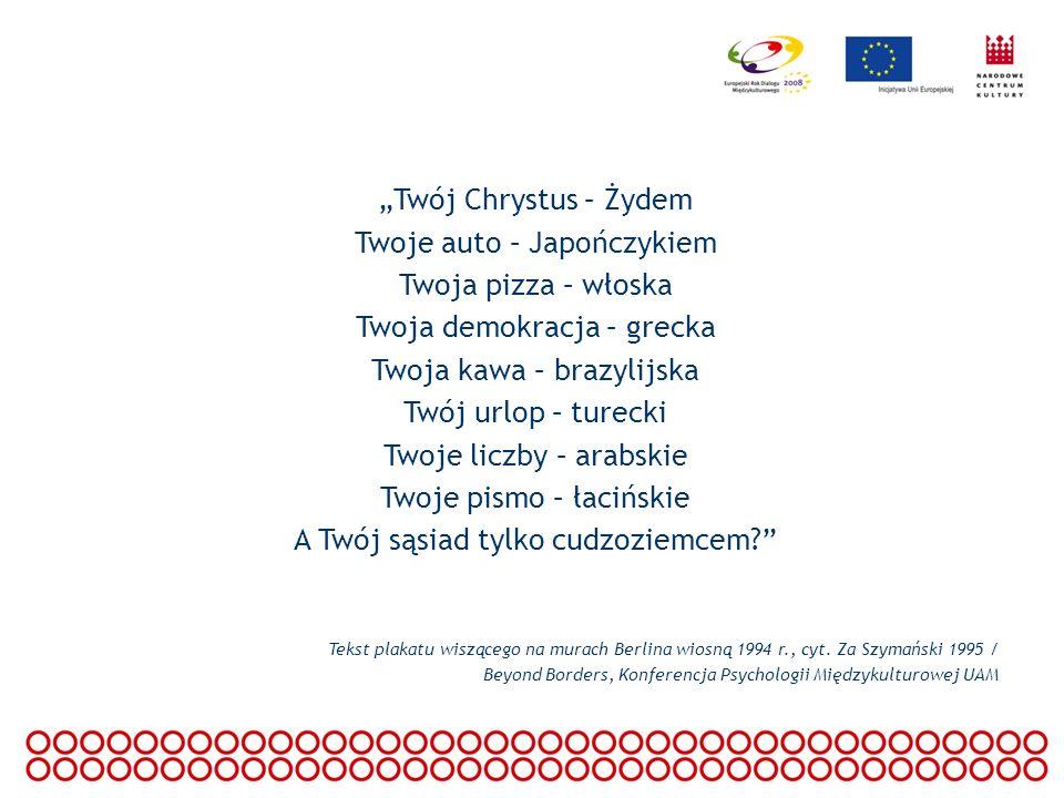 Twój Chrystus – Żydem Twoje auto – Japończykiem Twoja pizza – włoska Twoja demokracja – grecka Twoja kawa – brazylijska Twój urlop – turecki Twoje lic