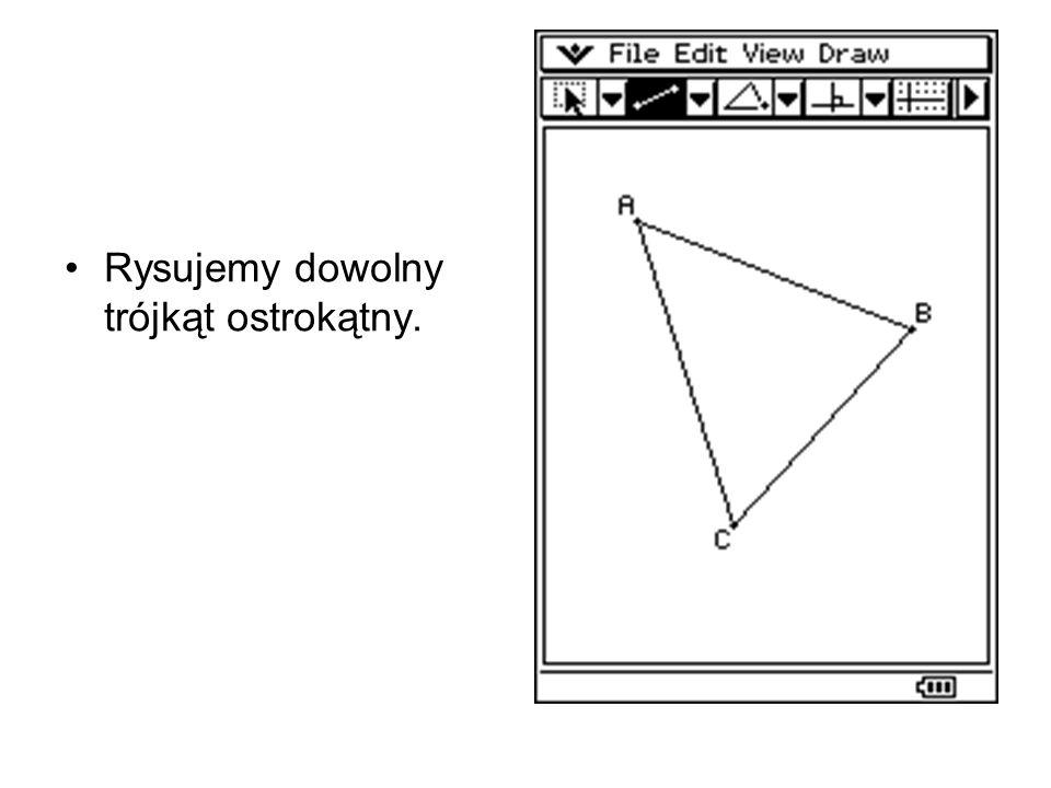 Rysujemy dowolny trójkąt ostrokątny.