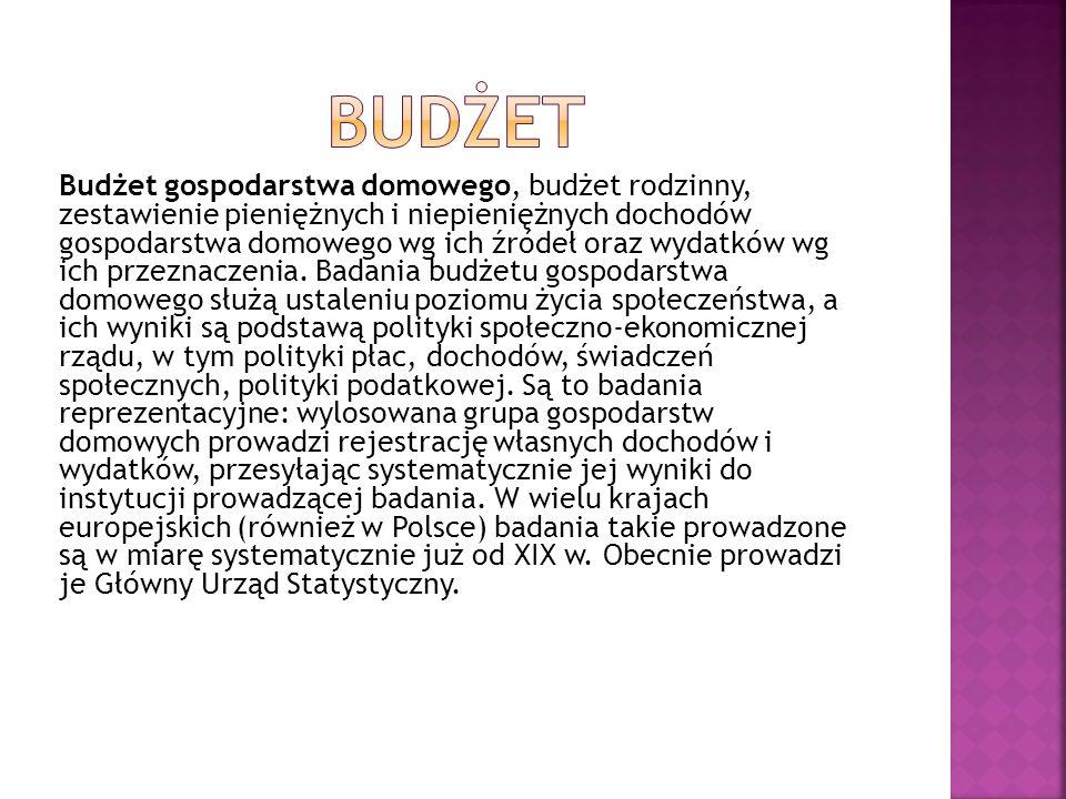 Budżet gospodarstwa domowego, budżet rodzinny, zestawienie pieniężnych i niepieniężnych dochodów gospodarstwa domowego wg ich źródeł oraz wydatków wg ich przeznaczenia.