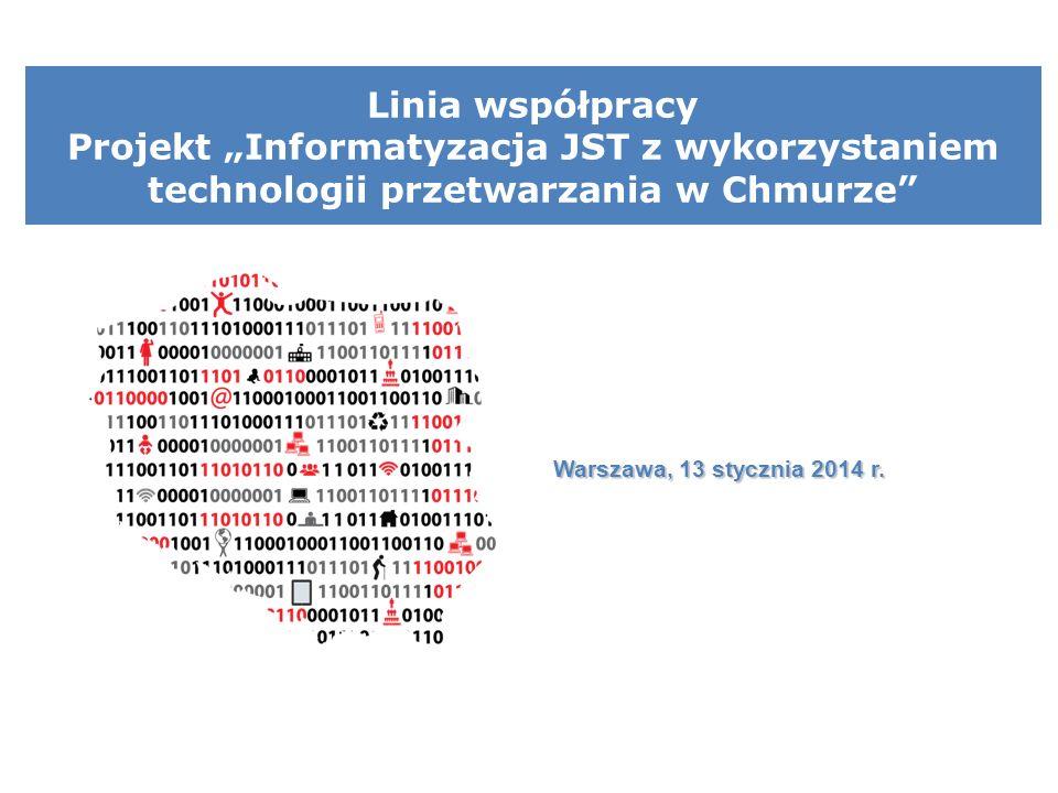 Linia współpracy Projekt Informatyzacja JST z wykorzystaniem technologii przetwarzania w Chmurze Warszawa, 13 stycznia 2014 r.