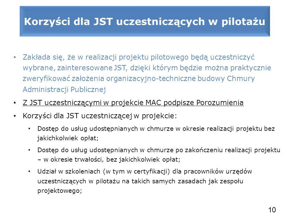 Zakłada się, że w realizacji projektu pilotowego będą uczestniczyć wybrane, zainteresowane JST, dzięki którym będzie można praktycznie zweryfikować za