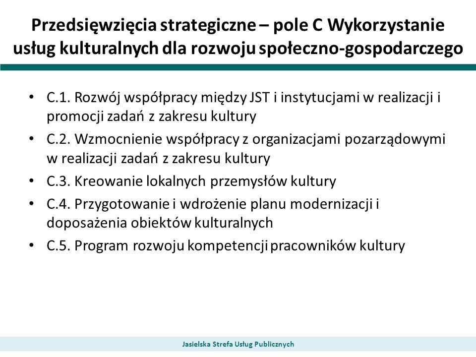 Przedsięwzięcia strategiczne – pole C Wykorzystanie usług kulturalnych dla rozwoju społeczno-gospodarczego C.1. Rozwój współpracy między JST i instytu