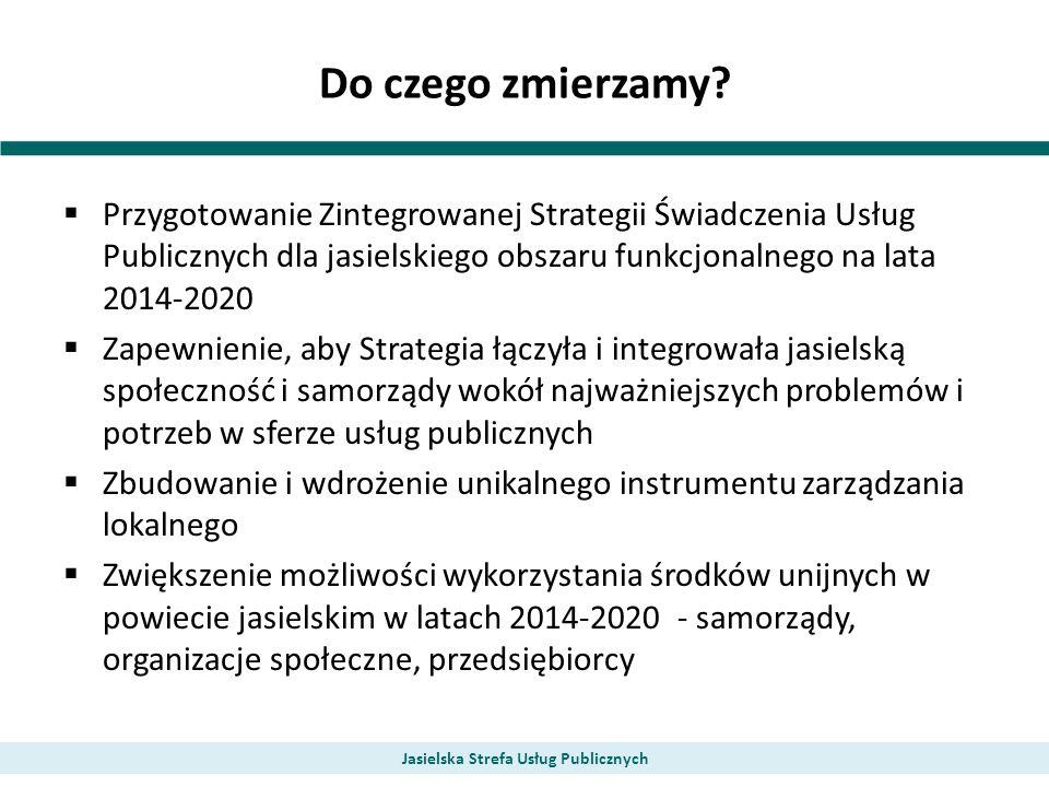 Do czego zmierzamy? Przygotowanie Zintegrowanej Strategii Świadczenia Usług Publicznych dla jasielskiego obszaru funkcjonalnego na lata 2014-2020 Zape