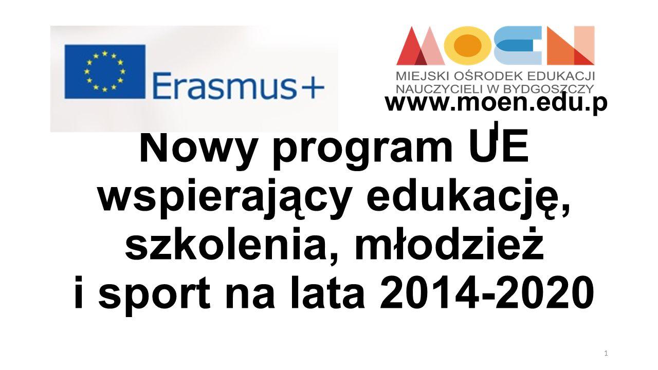 Nowy program UE wspierający edukację, szkolenia, młodzież i sport na lata 2014-2020 1 www.moen.edu.p l