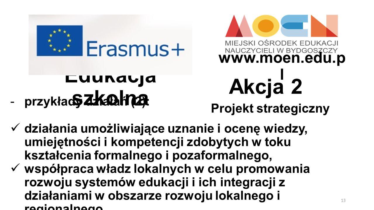 Edukacja szkolna Projekt strategiczny Akcja 2 -przykłady działań (2): działania umożliwiające uznanie i ocenę wiedzy, umiejętności i kompetencji zdoby