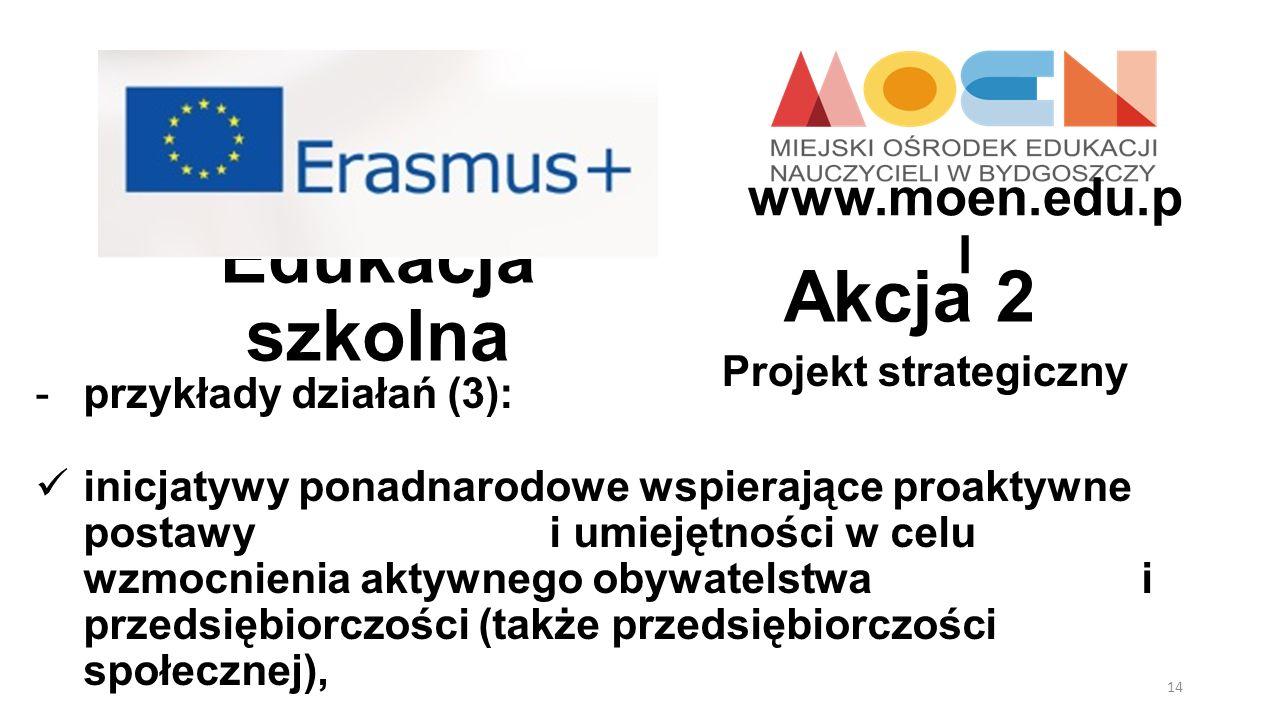 Edukacja szkolna Projekt strategiczny Akcja 2 -przykłady działań (3): inicjatywy ponadnarodowe wspierające proaktywne postawy i umiejętności w celu wz