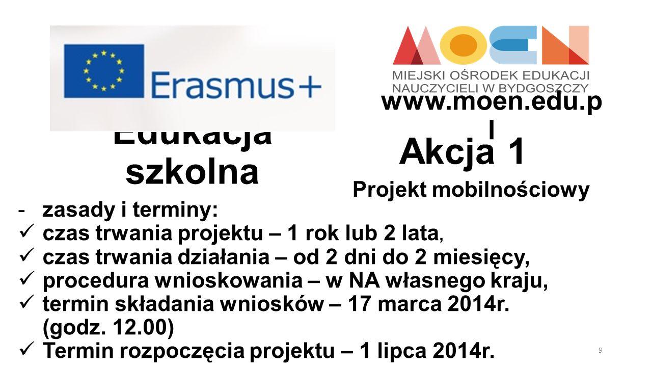Edukacja szkolna Projekt mobilnościowy Akcja 1 -zasady i terminy: czas trwania projektu – 1 rok lub 2 lata, czas trwania działania – od 2 dni do 2 mie