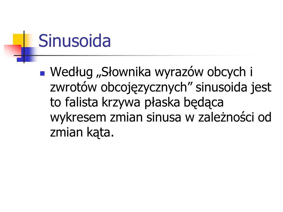 Sinusoida Według Słownika wyrazów obcych i zwrotów obcojęzycznych sinusoida jest to falista krzywa płaska będąca wykresem zmian sinusa w zależności od zmian kąta.