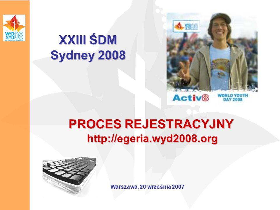 PROCES REJESTRACYJNY http://egeria.wyd2008.org Warszawa, 20 września 2007 XXIII ŚDM Sydney 2008
