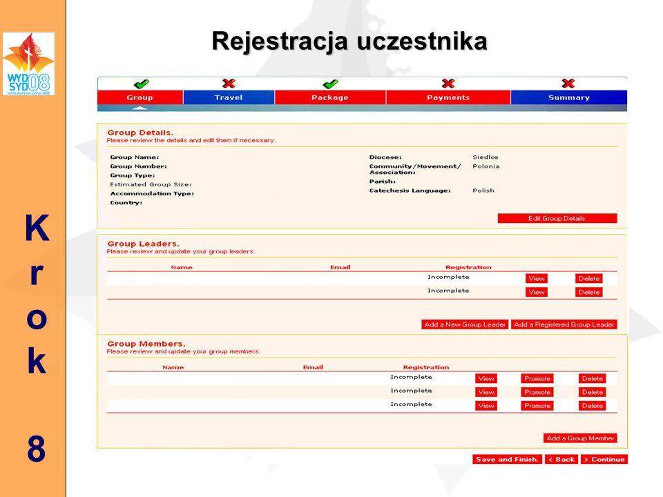 Rejestracja uczestnika Krok8Krok8