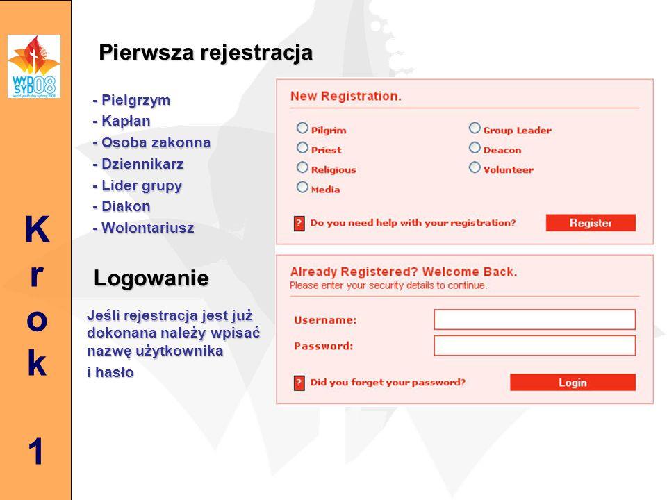 Pierwsza rejestracja - Pielgrzym - Kapłan - Osoba zakonna - Dziennikarz - Lider grupy - Diakon - Wolontariusz Jeśli rejestracja jest już dokonana należy wpisać nazwę użytkownika i hasło Krok1Krok1 Logowanie