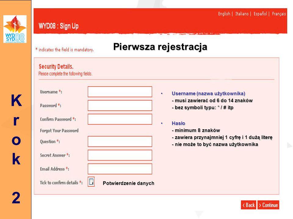 Krok3Krok3 Rejestracja opiekuna Panel z trzema zakładkami - Dane osobowe - Wiza - Grupa